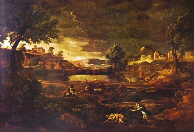 23 Poussin - Paesaggio con Piramo e Tisbe