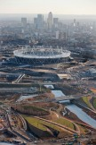 Olympic Stadium Aerial. Aerial view of the Olympic Stadium with Canary Wharf in the background. Picture taken on 08 Feb 11 by Anthony Charlton.